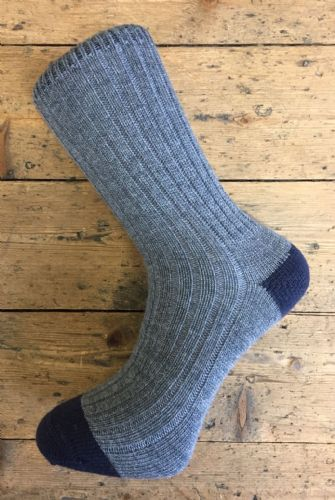 Men's Wool Socks - Grey and Navy - Machine Washable.